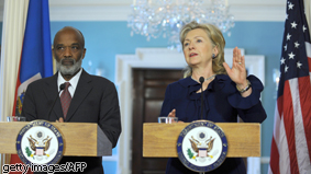 US Secretary of State Hillary Clinton makes remarks with Haitian President Rene Preval at the State Department in Washington DC. Preval visits Washington to lobby for support following January's massive earthquake.