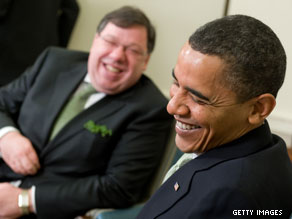 President Obama met with Irish Prime Minister Brian Cowen on St. Patrick's Day.