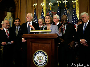 House Speaker Nancy Pelosi speaks during a night news conference on health care reform on Capitol Hill in Washington, March 22, 2010.