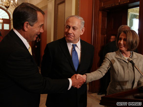 Israeli Prime Minister Benjamin Netanyahu spoke at an appearance Tuesday with House Speaker Nancy Pelosi and House Minority Leader John Boehner before meeting with President Obama.