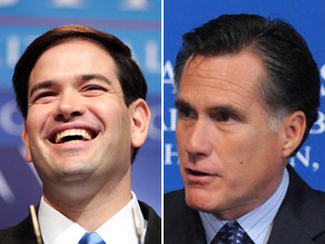Mitt Romney (right) announced Friday that he is endorsing Marco Rubio for Senate in Florida.