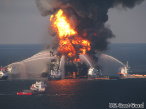 The U.S. Coast Guard launched a major search effort Wednesday, April 21, 2010, for 11 people missing after an explosion aboard an oil rig in the Gulf of Mexico.