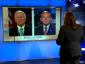 Sens. Chambliss, left, and Menendez, right, discussed immigration Sunday on CNN's State of the Union.