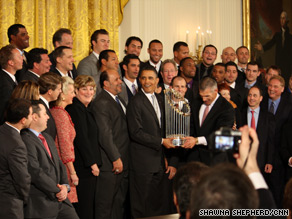 President Obama met with the New York Yankees Monday at the White House.