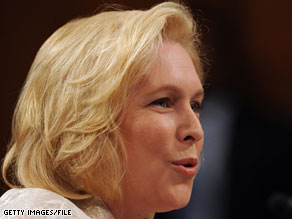 Sen. Kirsten Gillibrand of New York will attend a fundraiser Monday with some top Democratic donors who also have ties to Wall Street.