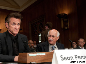 Actor Sean Penn attended a hearing Wednesday on Capitol Hill.