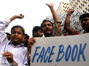 Protesters in Pakistan shout slogans against the published caricatures of Prophet Mohammed on Facebook.