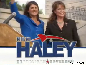 Sarah Palin is featured in South Carolina Republican Nikki Haley's new ad.