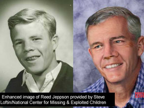 Photo of Reed from 1964 and a photo of what Reed might look like today.