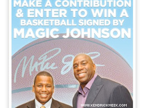 Magic Johnson is lending a helping hand to Democrat Kendrick Meek.