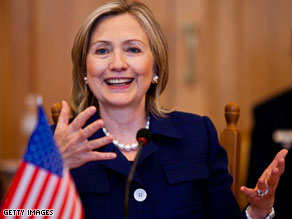 Sec. of State Hillary Clinton talked about her daughter's upcoming marriage while visiting Poland.