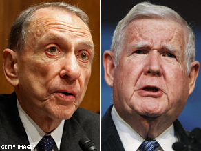 FILE PHOTOS: Arlen Specter (l) and John Murtha (r)