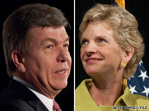 A new poll shows Republican Rep. Roy Blunt (left) leading Democrat Robin Carnahan by six points in the battle for Missouri's open Senate seat.