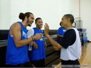 The president played basketball Sunday with a number of NBA players including Joakim Noah and Derrick Rose of the Chicago Bulls.
