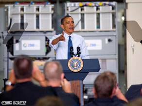 President Obama touted his administration's clean energy initiatives Monday in Wisconsin.