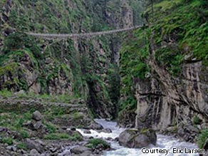 The last suspension bridge before Namche Bazar, on the way to Everest base camp.