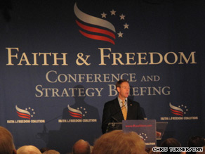 Tony Perkins president of the Family Research Council addresses the crowd at the Faith and Freedom Conference and Strategy Briefing.