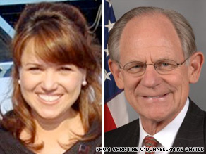 Christine O'Donnell and Sen. Mike Castle are vying for the Republican nomination for Senate in Delaware.