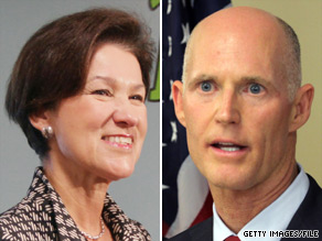 Democrat Alex Sink (left) and Republican Rick Scott (right) will face off in a gubernatorial debate in Florida on October 25.