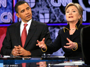 (FILE PHOTO) Obama and Clinton square off in a 2008 Texas debate.