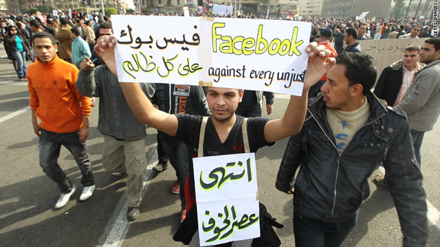 Egyptian protesters use Facebook to fuel the revolution fire.