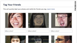 Images of 6 people with small boxes on their faces representing the recognition tool