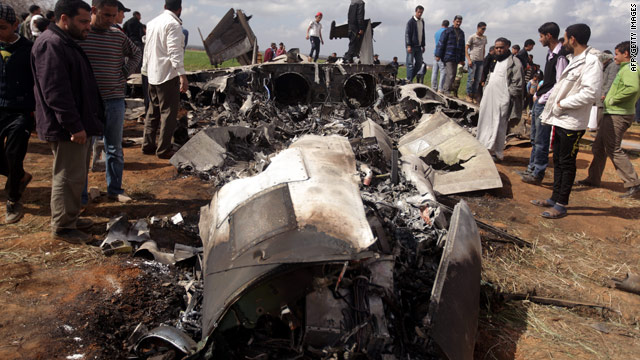 The wreckage of a U.S. Air Force F-15 in Libya on Tuesday.
