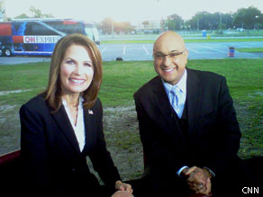 Ali Velshi and Rep. Michele Bachmann after our American Morning interview.