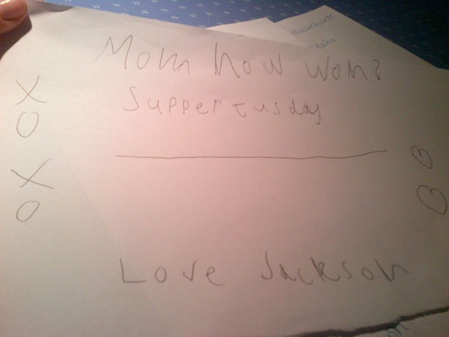 The note Jackson left for me in the morning.