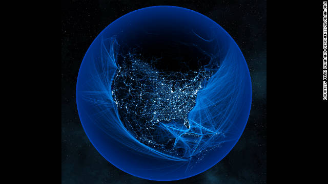 Shipping lanes funnel into major ports along the U.S. coast. Pharand used government sources like the National Geospatial Intelligence Agency and the National Oceanic and Atmospheric Administration for data to piece together the visualizations.