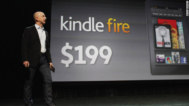 Amazon CEO Jeff Bezos surprises the crowd at the Kindle Fire announcement in September with a low $199 price tag.