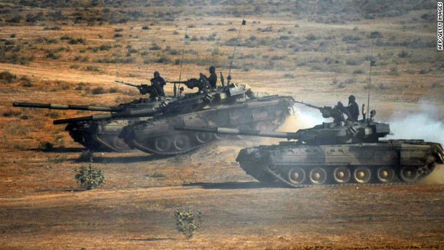 Pakistani tanks take part in an exercise Friday. Military officials were in the U.S. discussing what they say was a NATO attack.