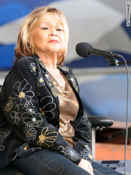 <br/>Etta James, here performing at the New Orleans Jazz & Heritage Festival in 2009, died Friday, January 20, due to complications from leukeimia, said her longtime friend and manager, Lupe De Leon. The singer was 73.