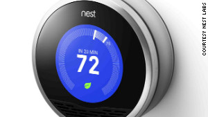 The Nest thermostat has an elegantly simple dial that turns blue when cooling and orange when heating.