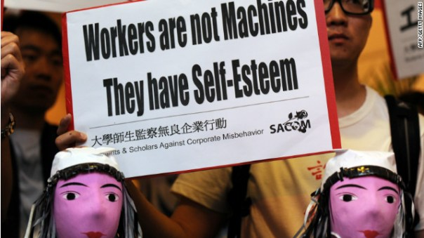 Students protest during Foxconn's annual general meeting in Hong Kong in June 2010.