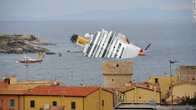 Cruise ship Costa Concordia lies stricken off the shore of the island of Giglio on January 18, 2012 in Giglio Porto, Italy.