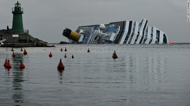 A view of the stricken luxury liner Costa Concordia off the Isola del Giglio on January 22, 2012.
