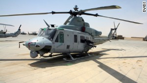 This UH-1Y Huey is on the flight line at Camp Bastion, Afghanistan.