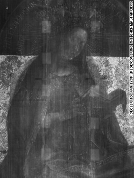 <br/>Digitized X-radiographs of the Virgin Enthroned panel. These images allow the viewer to see the skeleton of the picture, revealing the evolving nature of the composition over time.