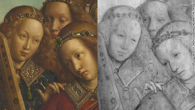 <br/>A detail from the Angel Musicians, in digital macrophotographs on the left and in digital infrared reflectograms on the right.