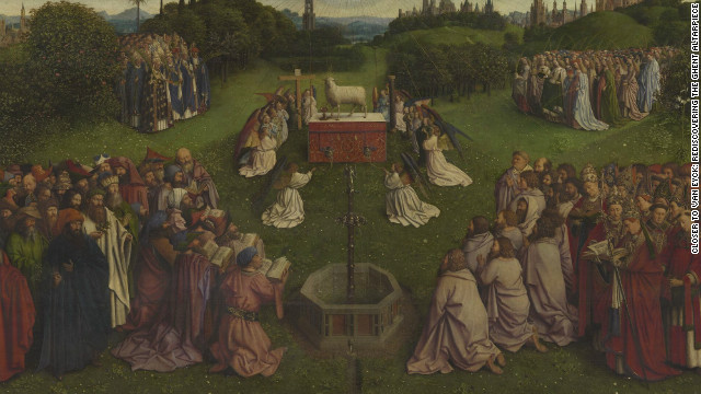 <br/>Stolen several times from St. Bavo Cathedral in Ghent where it is housed, the altarpiece features many intriguing details, including a 'Mystic Lamb' bleeding into a chalice.
