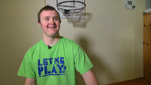 Eric Dompierre, 19, plays on the high school basketball and football teams