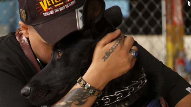 Many U.S. veterans are struggling with invisible wounds such as post-traumatic stress disorder, anxiety and depression. But some of them are finding peace at home thanks to their canine companions. Click through the gallery to meet a few veterans and the service dogs who help them get through their daily lives.