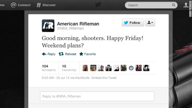 @NRA_Rifleman's faux pas during the CO #theatershooting resulted in deleted account