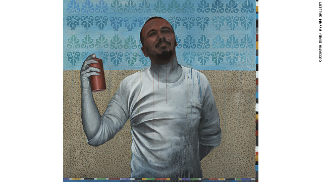 """Oussama says this picture came from the idea of spraying on walls to represent freedom. """"Instead of writing the word freedom, this man is spraying his own brain and ideas to express freedom,"""" he said."""
