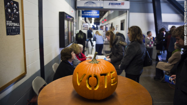 A carved pumpkin greets voters at Hinkle Fieldhouse in Indianapolis, Indiana.