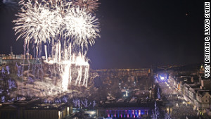 Fireworks light up Edinburgh\'s Princes Street.