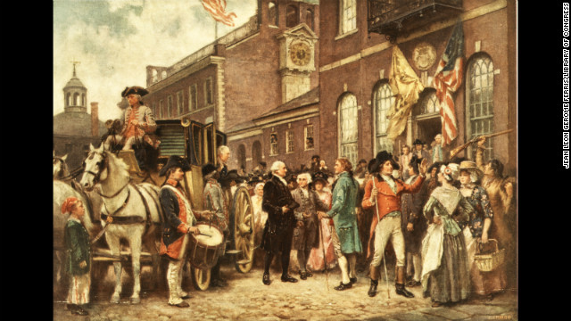 George Washington stands outside his carriage at his second inauguration on March 4, 1793.