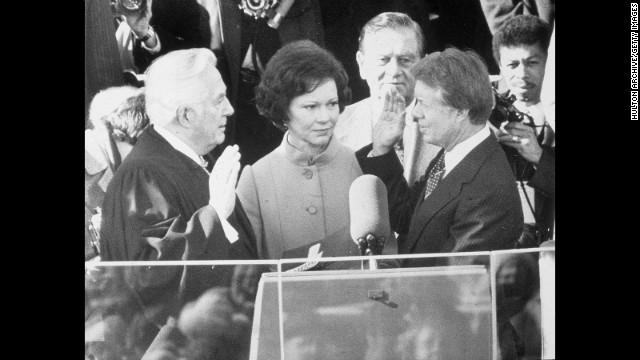 Jimmy Carter is sworn in on January 20, 1977.