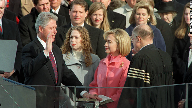 Bill Clinton is sworn in for the second time on January 20, 1997.